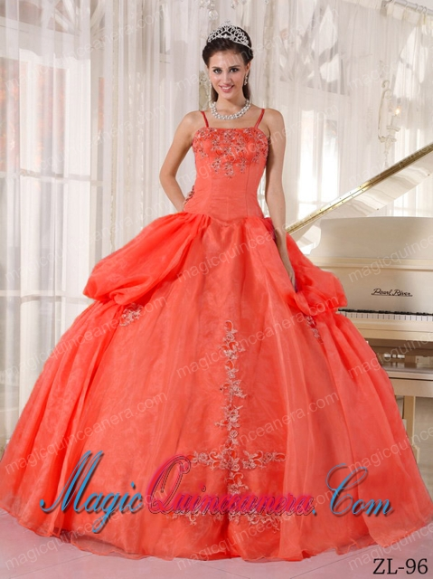 Beautiful Rust Red Ball Gown Spaghetti Straps Floor-length Taffeta ...