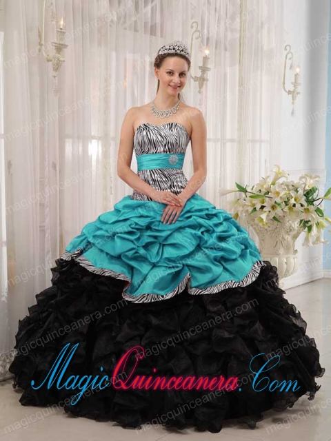c93d945b1ea Brand New Turquoise and Black Ball Gown Sweetheart Floor-length Cute ...