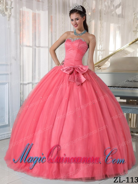 Cheap Watermelon Ball Gown Beading and Bowknot Sweetheart Tulle ...
