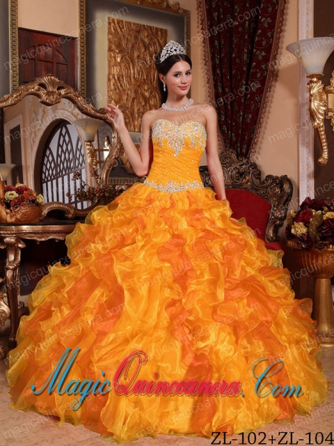 Golden Ball Gown Sweetheart Floor-length Organza Appliques and ...