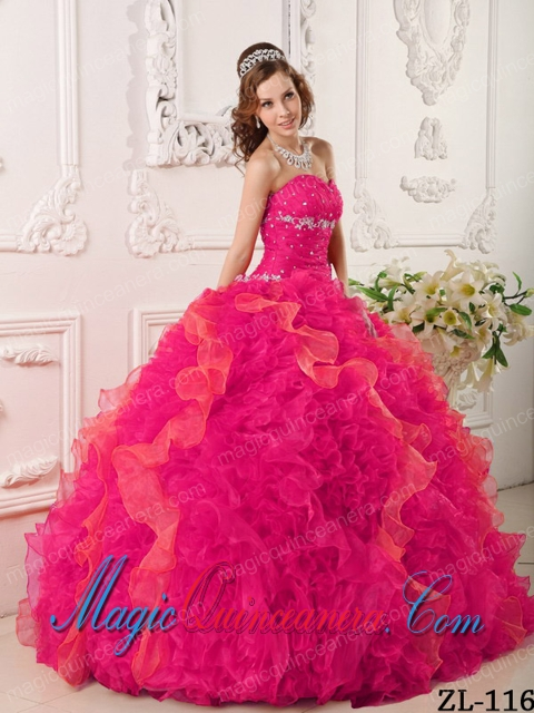 Beautiful Coral Red Ball Gown Sweetheart Floor-length Organza ...