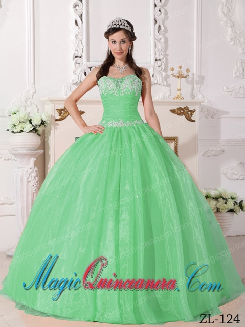 Gorgeous Apple Green Strapless Ball Gown Taffeta and Organza ...