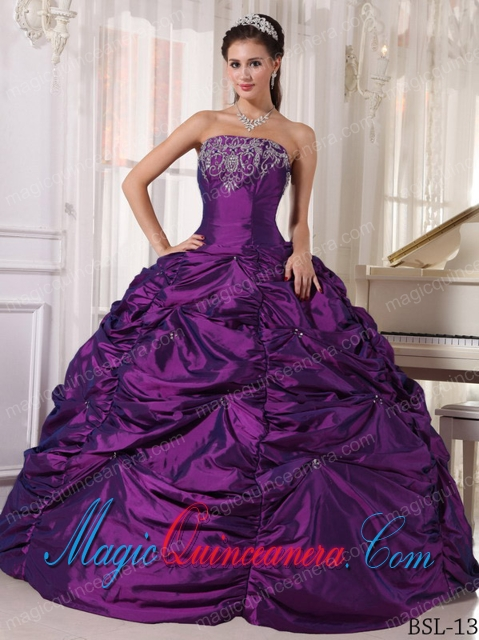 Purple Ball Gown Strapless Floor-length Taffeta Embroidery Formal ...