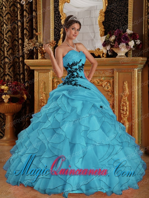 Aqua Blue Ball Gown Sweetheart With Organza Appliques Sweet 15 Quinceanera Dresses