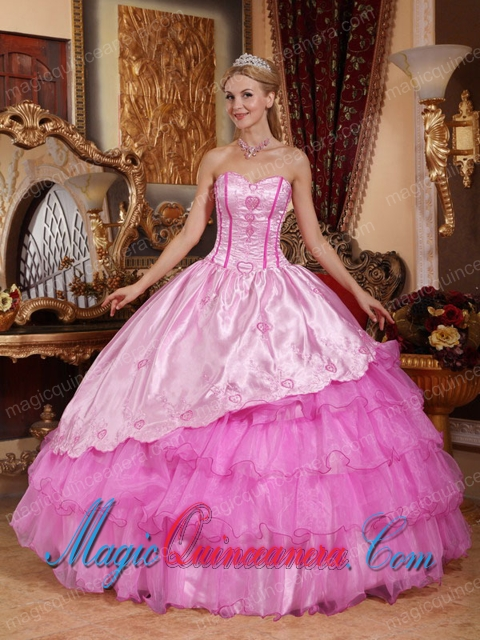 Pink Ball Gown Sweetheart Floor-length Taffeta and Oragnza Embroidery Quinceanera Dress