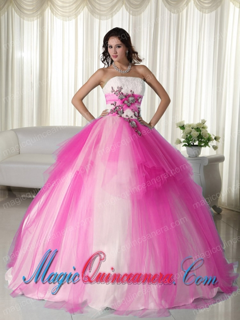 Fabulous Hot Pink Ball Gown Strapless Floor-length Tulle Beading ...