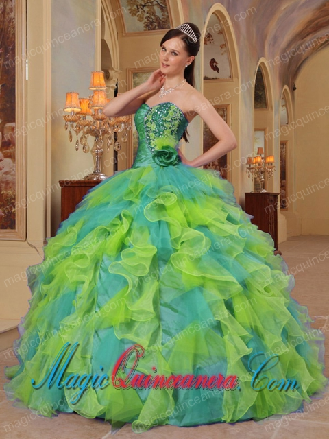 Popular Colorful Ball Gown Sweetheart Ruffles Organza Quinceanera ...