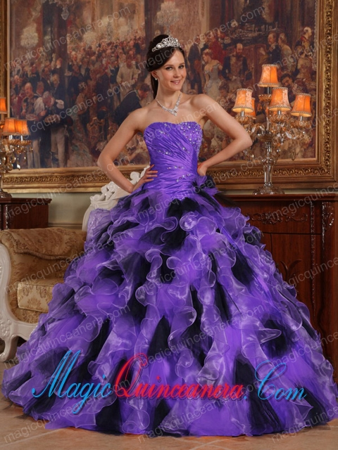 Purple and Black Ball Gown Strapless Floor-length Organza Popular ...