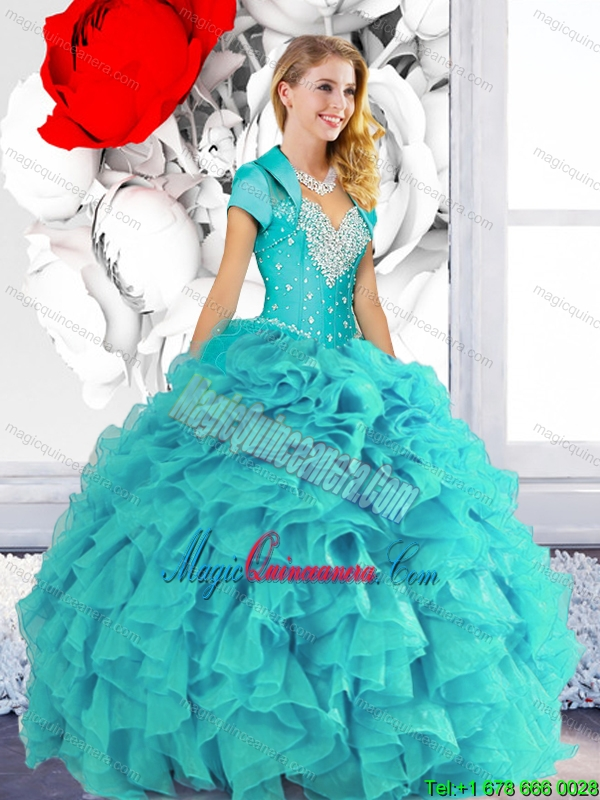 2015 Fashion Sweetheart Quinceanera Dresses with Beading and Ruffles