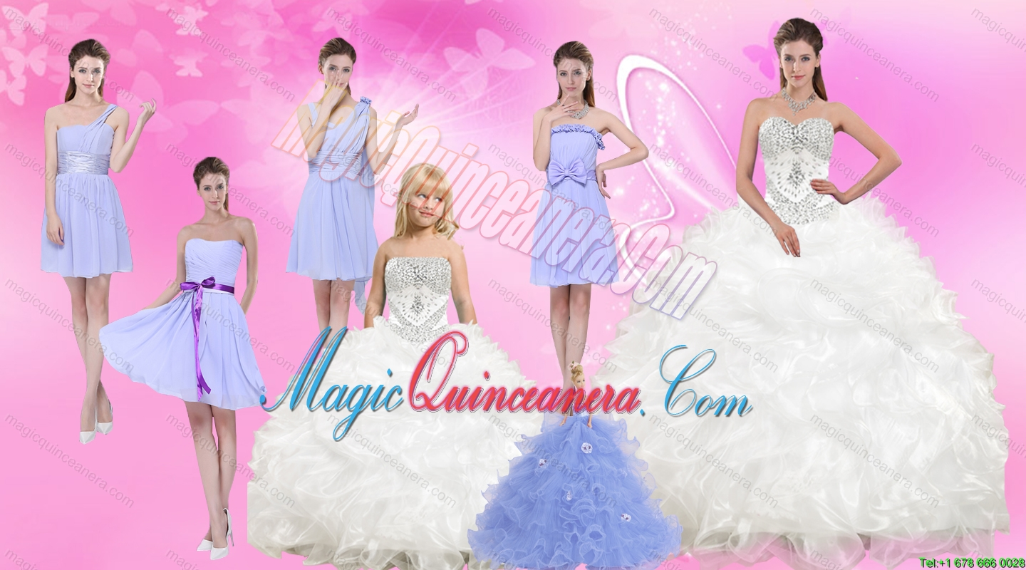 White Sweetheart Quinceanera Dress and Beautiful Short Dama Dresses and 2015 White Litter Girl Dress