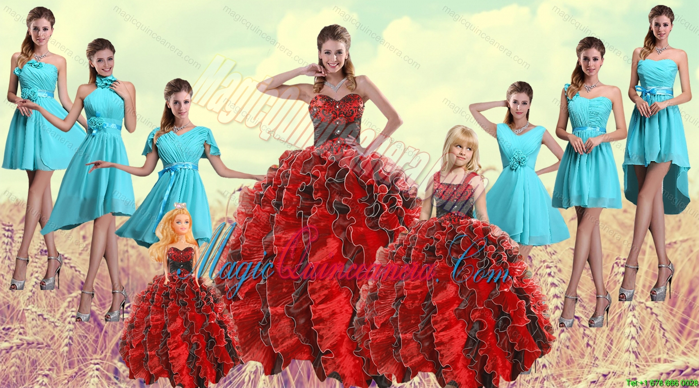 Multi Color Sweetheart Ruffles Quinceanera Dress and Baby Blue Short Dama Dresses and Multi Color Straps Beading Litter Girl Dress