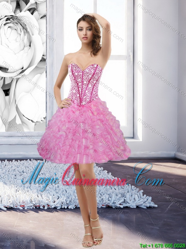 New Arrival Rose Pink Sweetheart 2015 Dama Dresses with Beading and Ruffles