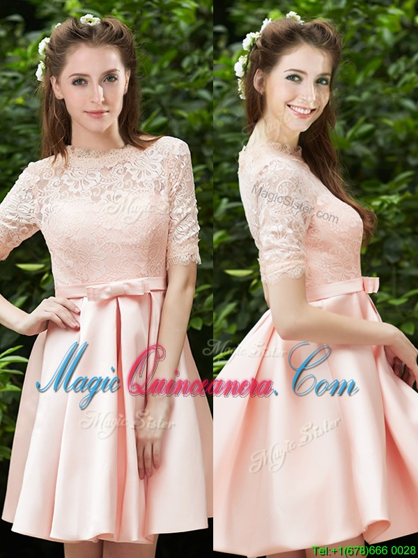 Lovely High Neck Short Sleeves Dama Dress with Lace and Bowknot