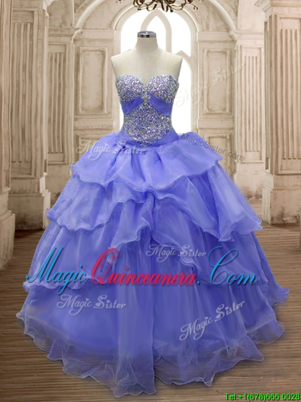 f8df9a59c55 Lovely Lavender Big Puffy Quinceanera Dress with Ruffled Layers and Beading.  triumph