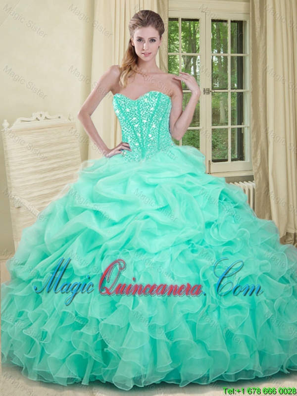af4e167073 2016 Elegant Apple Green Quinceanera Dresses with Beading and Ruffles.  triumph