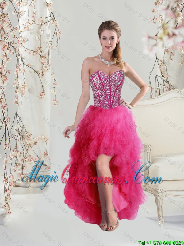 2016 New Arrival High Low Sweetheart Beaded and Ruffles Prom Dresses ...
