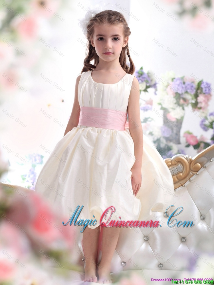 2016 Summer Cheap White Scoop Little Girl Pageant Dresses with Light ...