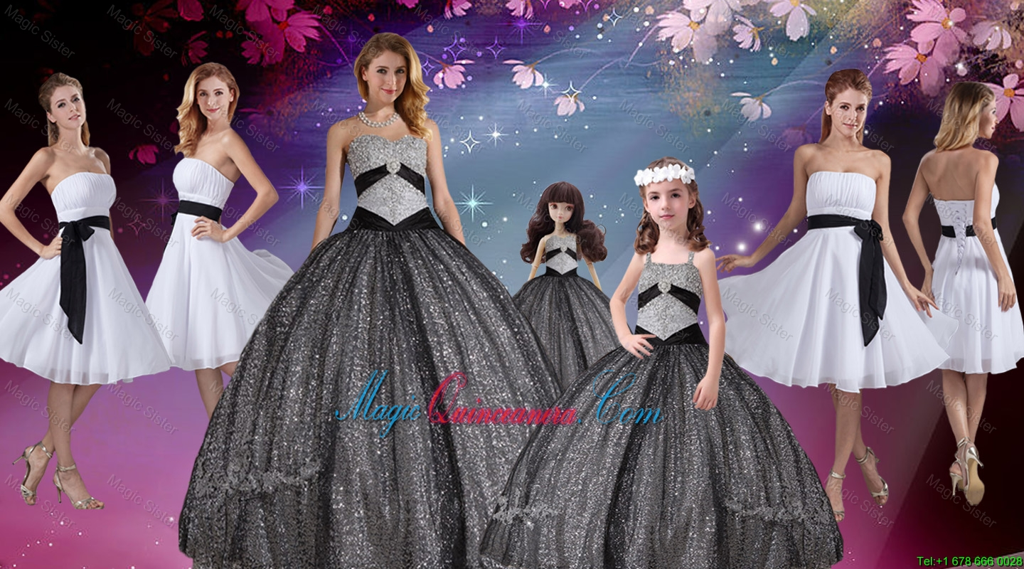 Popular Appliques and Sequined Quinceanera Dresses and White Short Dama Dresses and Cute Straps Litter Girl Dresses