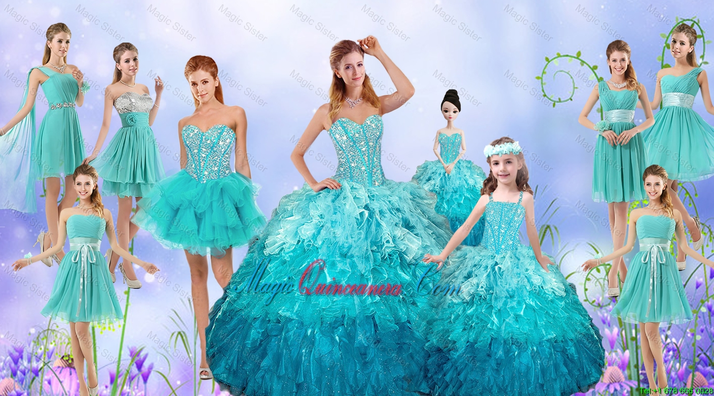 Popular Beaded Quinceanera Gown and Aqua Blue Dama Dresses and ...