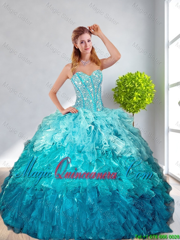 Popular Beaded Quinceanera Gown And Aqua Blue Dama Dresses