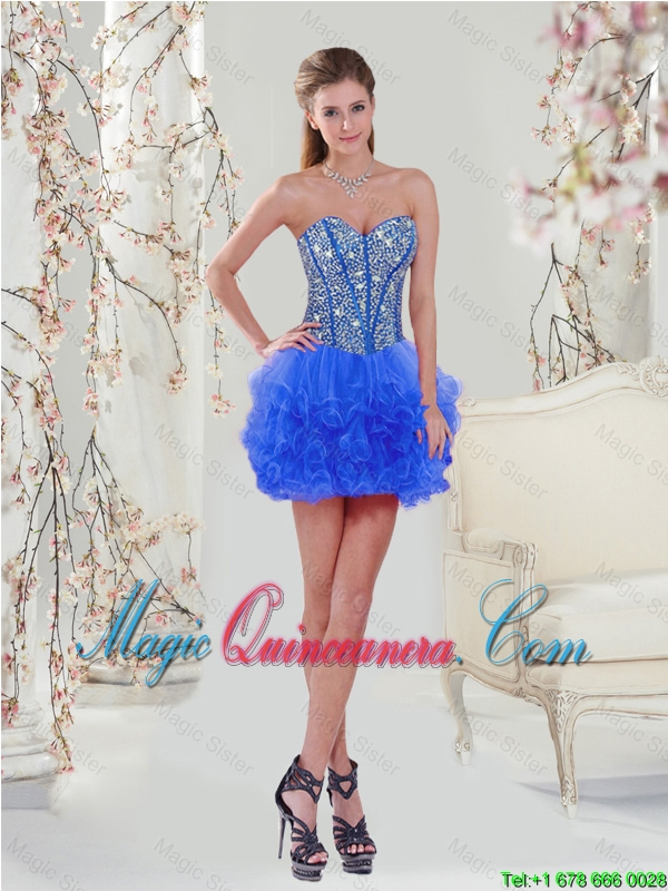 3afdeb68bbb 2016 Sweetheart Beaded and Ruffles Royal Blue Detachable Quinceanera Dresses  - Magic Quinceanera