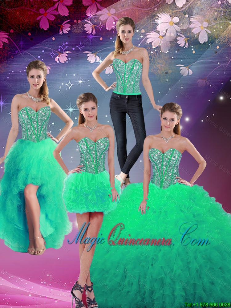 Formal Sweetheart Beaded and Ruffles Detachable Quinceanera Dresses in Turquoise for 2016
