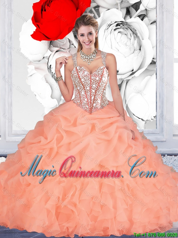 Elegant Orange Ball Gown Straps Quinceanera Dresses with Beading