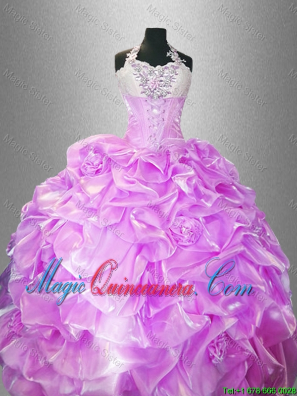 2016 Latest Hand Made Flowers Quinceanera Dresses with Halter Top