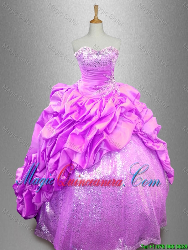 Beautiful Strapless Beaded Sweet 16 Dresses with Pick Ups
