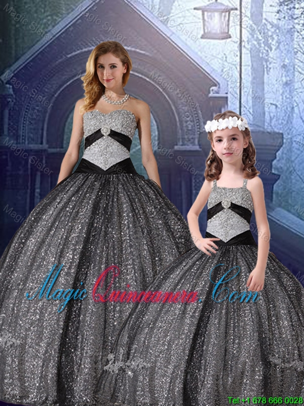 2015 Winter Classical Ball Gown Sweetheart Appliques Macthing Sister Dresses in Black