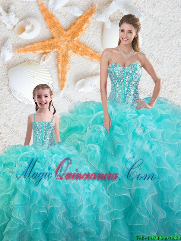 2016 Spring Beautiful Aqua Blue Quinceanera Macthing Sister Dresses with Beading and Ruffles
