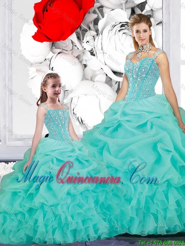 2015 Winter New Style Ball Gown Straps Macthing Sister Dresses in Turquoise