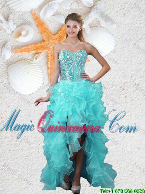 Popular Beaded Sweetheart Aqua Blue Dama Dresses with High Low