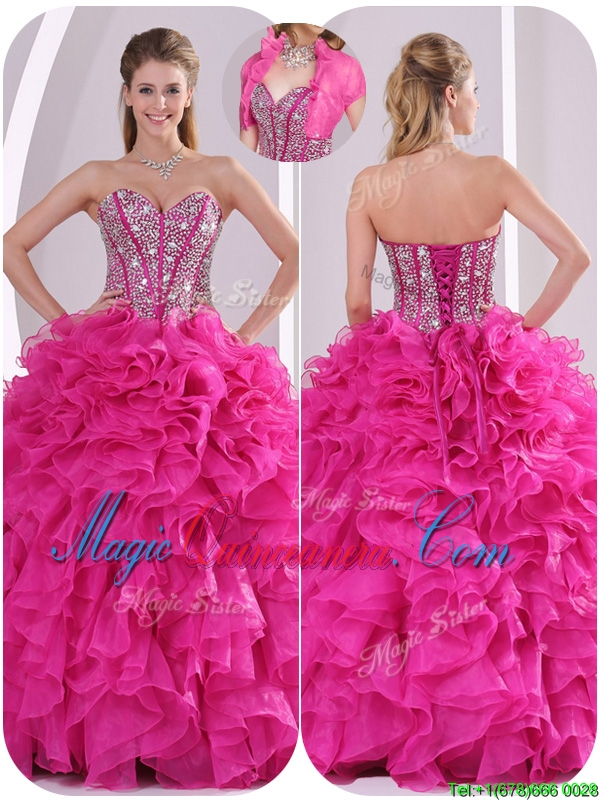 Popular Ruffles and Beading Quinceanera Dresses in Fuchsia