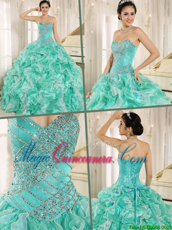 Brand New Apple Green Quinceanera Dresses with Beading and Ruffles