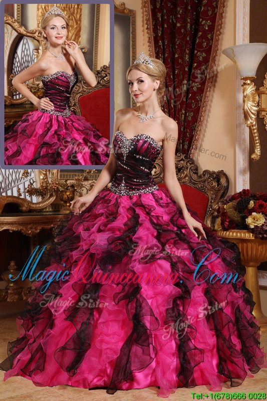 Classical Beading and Ruffles Quinceanera Gowns in Black and Red