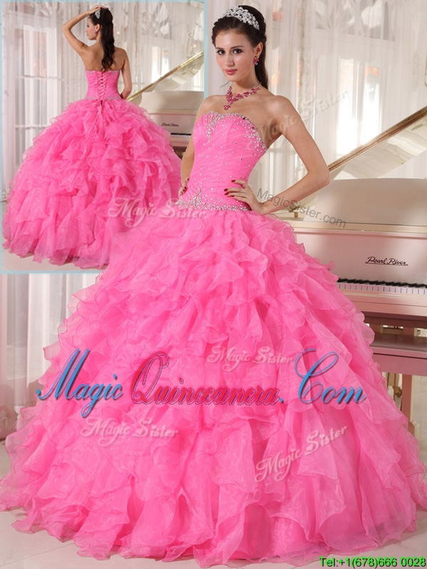 Popular Hot Pink Ball Gown Strapless Quinceanera Dresses
