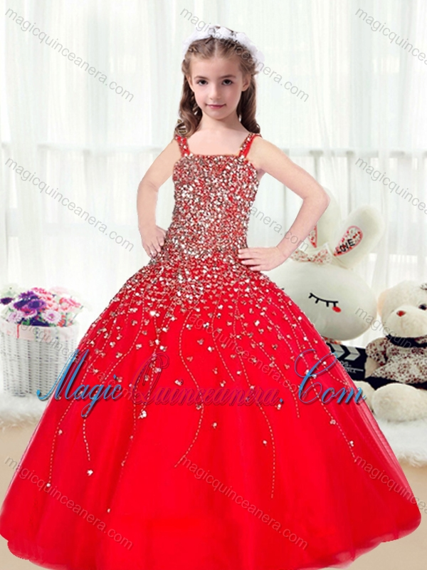 cute ball gown straps beading red little girl pageant