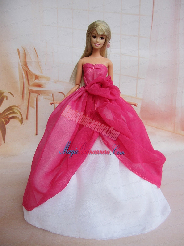 Pretty Ball Gown Dress For Noble Barbie With Hot Pink and Hand Made ...