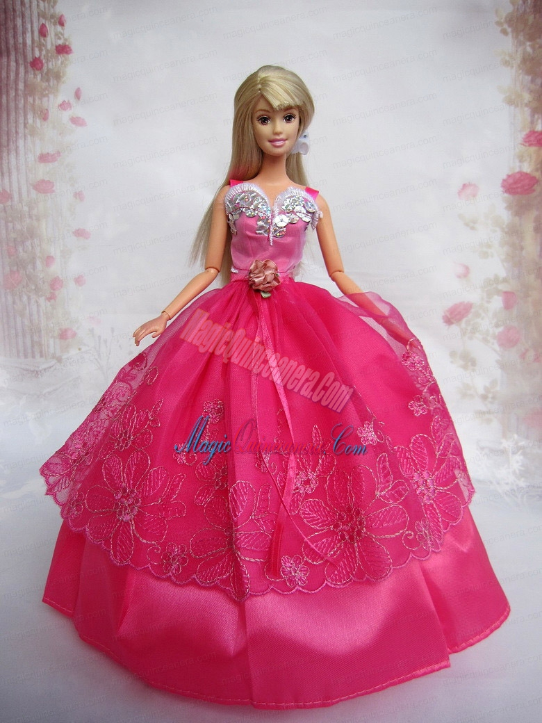 Lovely Hot Pink Ball Gown Taffeta and Organza Barbie Doll Dress ...