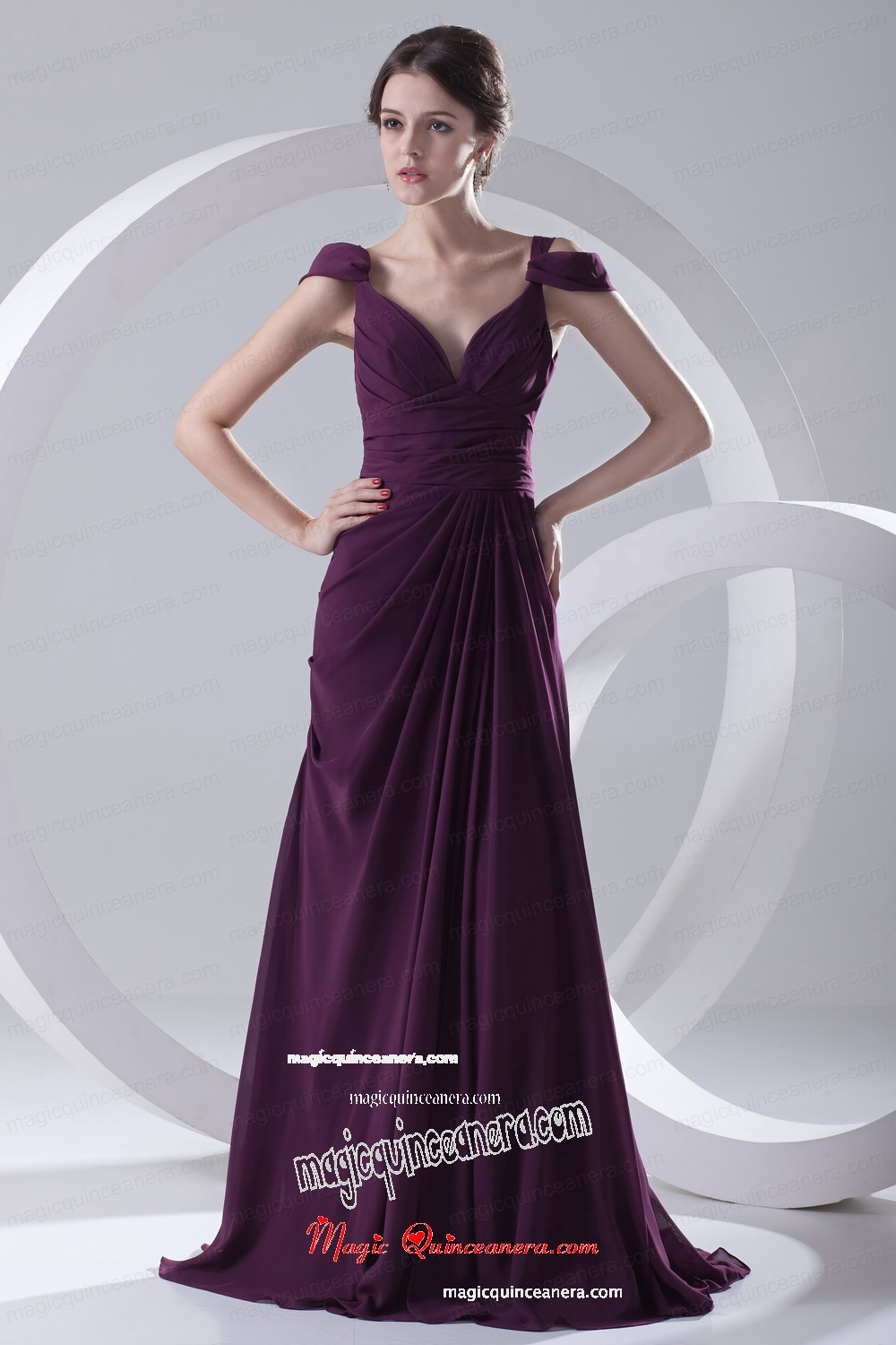 Empire Purple Ruching Straps Cap Sleeves Dresses for Mother