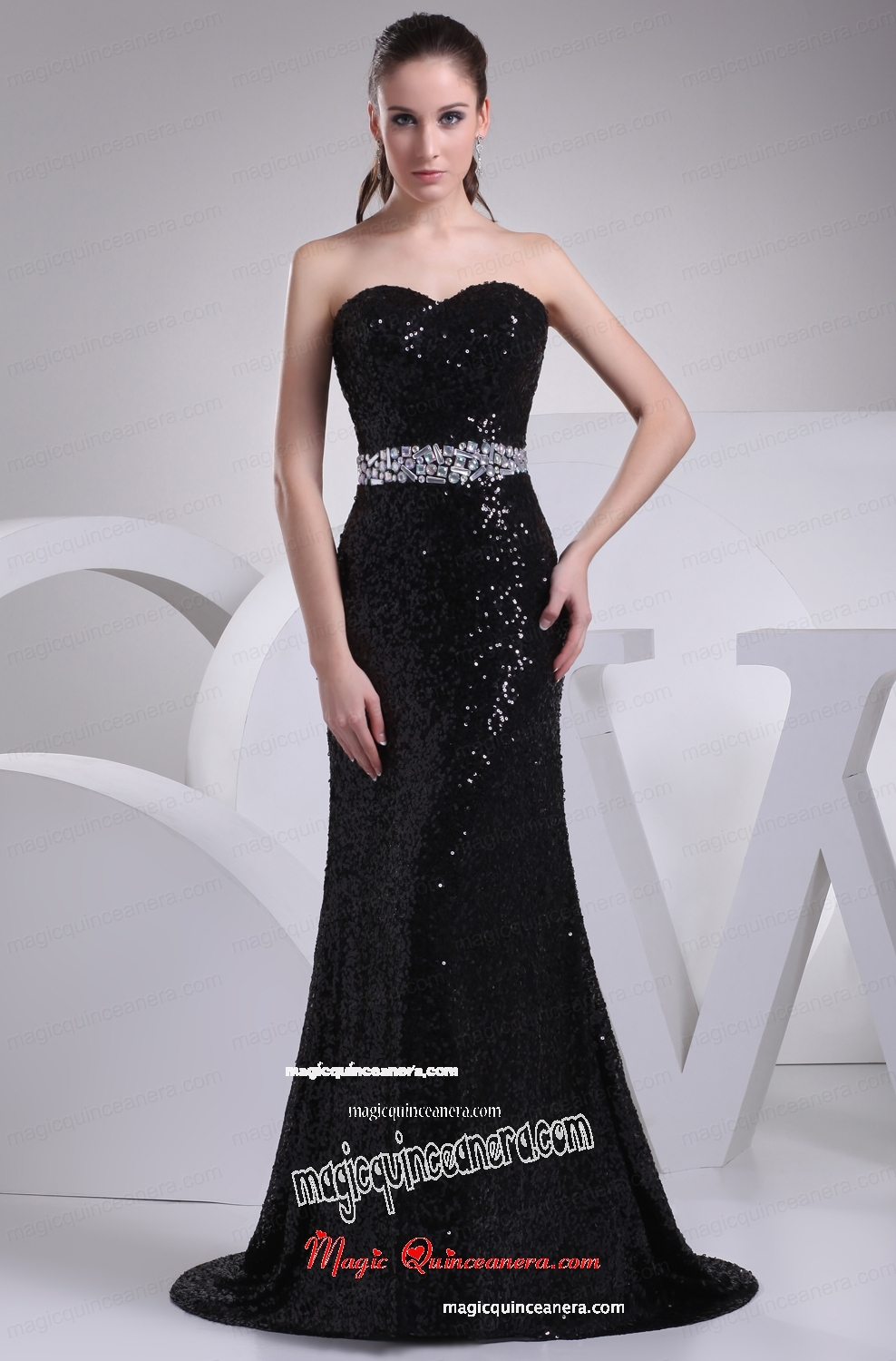 Black Sequin Beading Sweetheart Brush Train Mother Dress