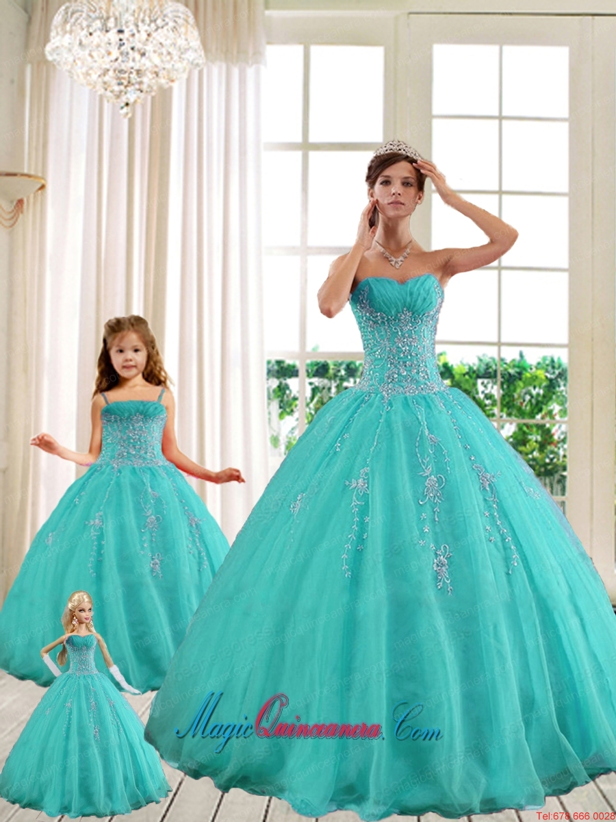 2015 LuxuriousTurquoise Princesita With Quinceanera Dresses with Beading