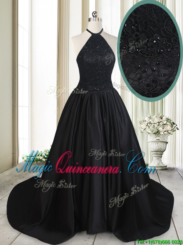 Pretty Halter Top Taffeta Laced and Beaded Black Dama Dress with Brush Train