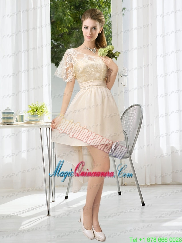 Lace High Low Short Sleeves Mother Dress with One Shoulder