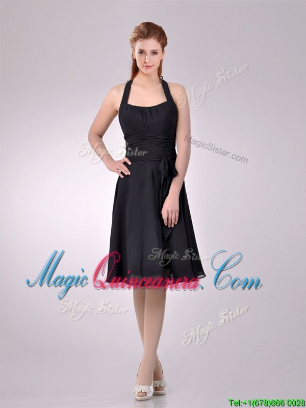 Best Selling Chiffon Halter Top Ruched Dama Dress in Black