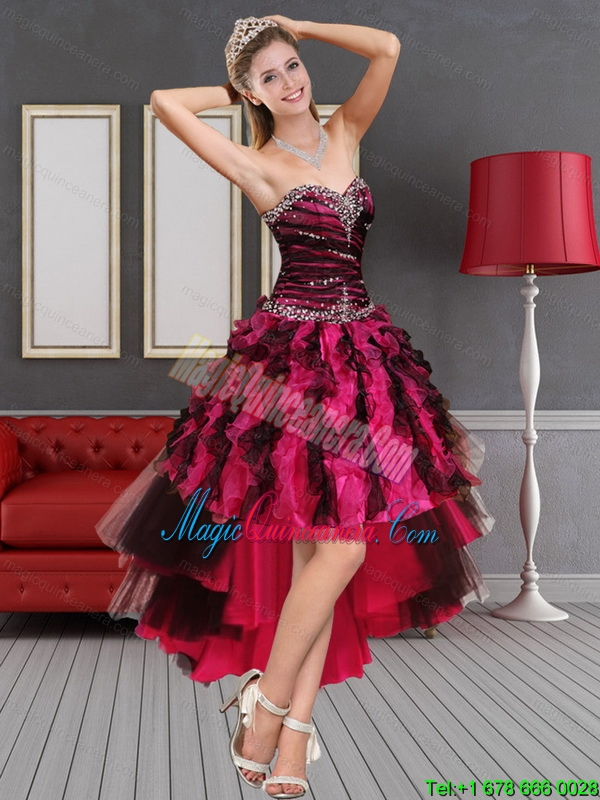 Discount Multi Color High Low Sweetheart Dama Dresses with Beading and Ruffles