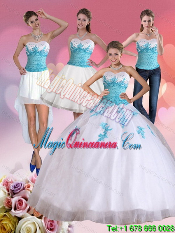 99ef02f0d99 2015 Detachable Strapless Beading and Appliques Quinceanera Dress in White  and Blue. triumph