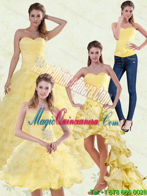 Detachable Yellow Beading and Ruffles Sweetheart Quinceanera Dress for 2015