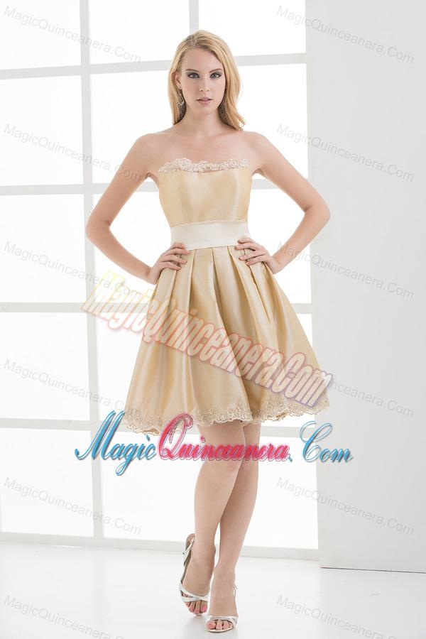 A-line Strapless Sleeveless Embroidery Champagne Dama Dresses ...